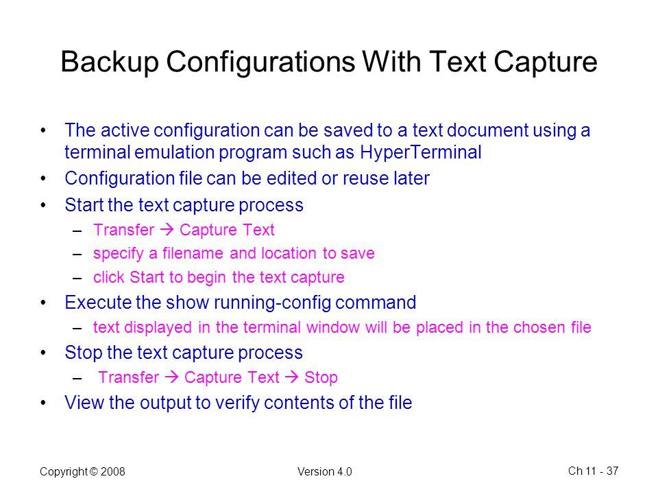 Backup Configurations With Text Capture