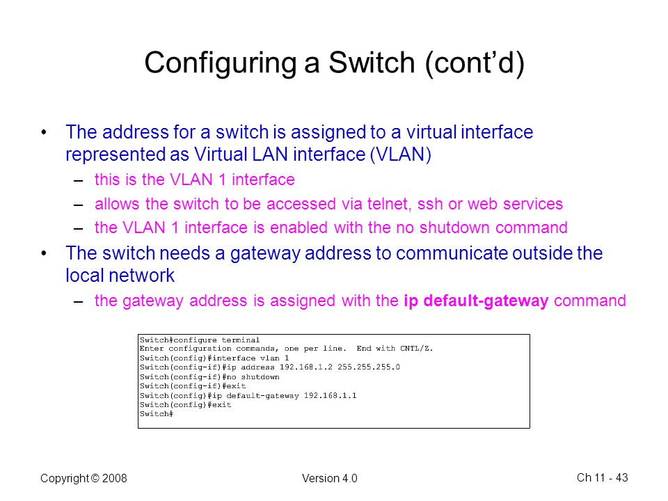 Configuring a Switch (cont'd)