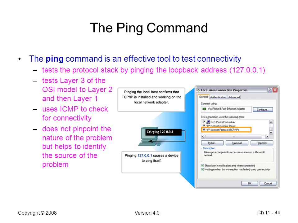 The Ping Command The ping command is an effective tool to test connectivity. tests the protocol stack by pinging the loopback address (127.0.0.1)
