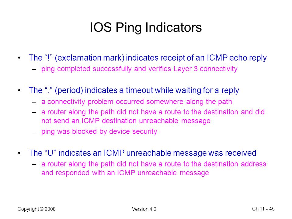 IOS Ping Indicators The ! (exclamation mark) indicates receipt of an ICMP echo reply.