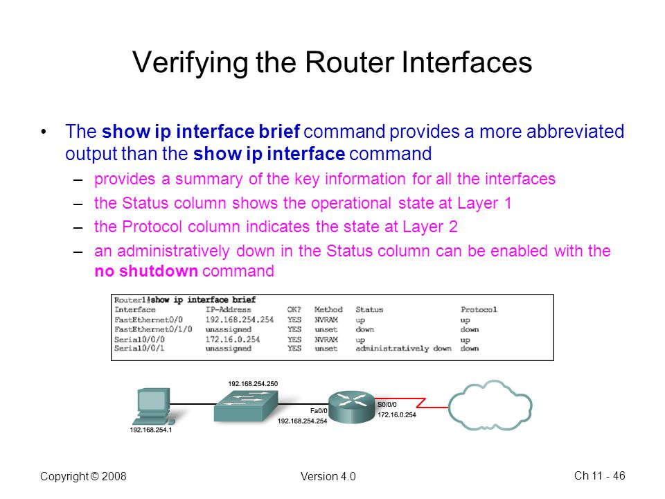 Verifying the Router Interfaces