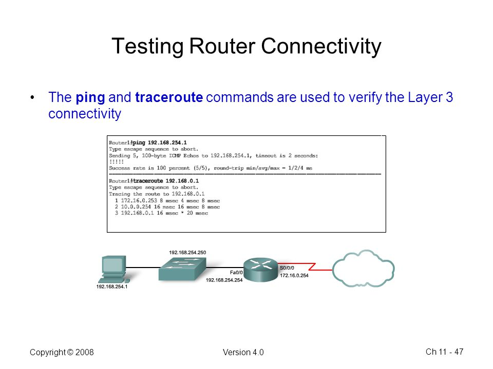 Testing Router Connectivity