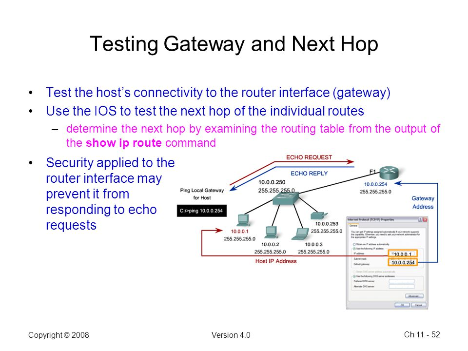 Testing Gateway and Next Hop