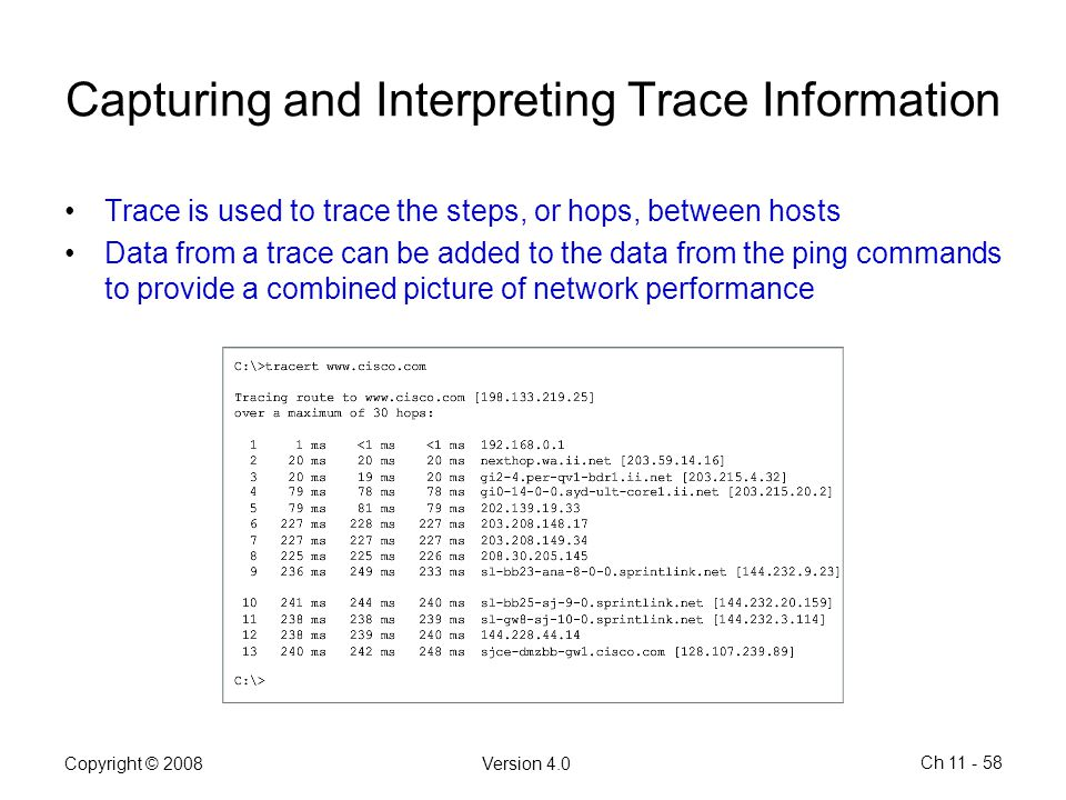 Capturing and Interpreting Trace Information