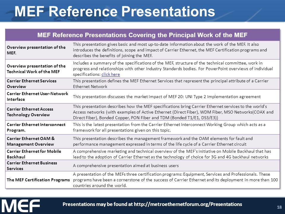 MEF Reference Presentations