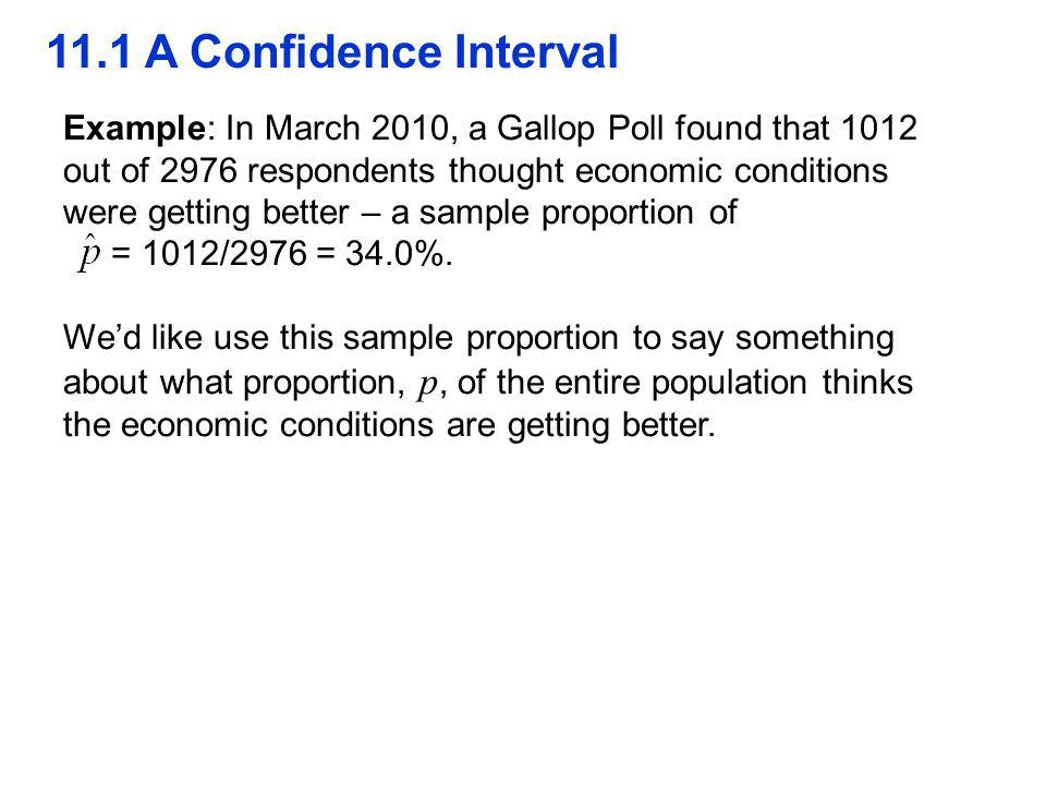 QTM1310/ Sharpe 11.1 A Confidence Interval. Example: In March 2010, a Gallop Poll found that 1012.