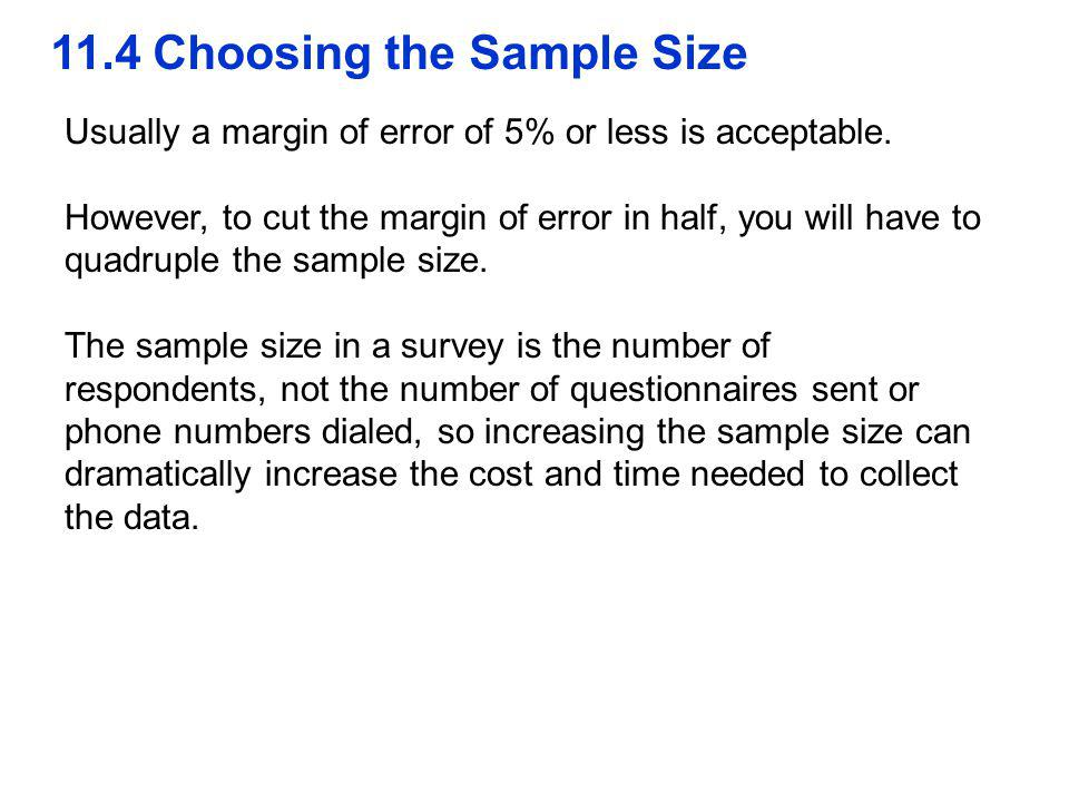11.4 Choosing the Sample Size