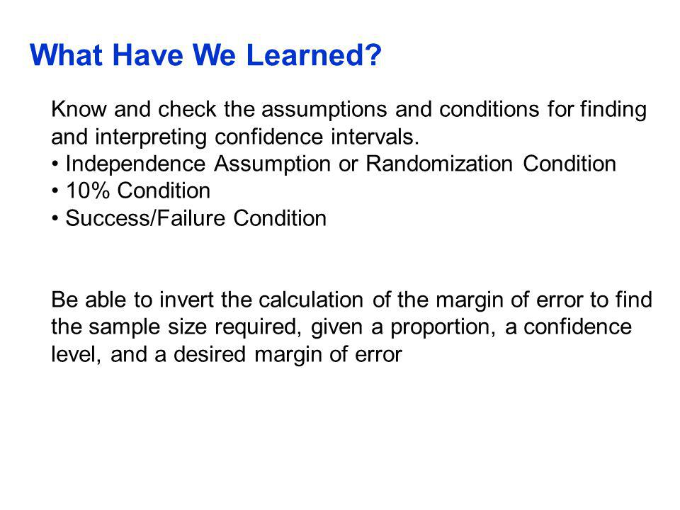 QTM1310/ Sharpe What Have We Learned Know and check the assumptions and conditions for finding and interpreting confidence intervals.