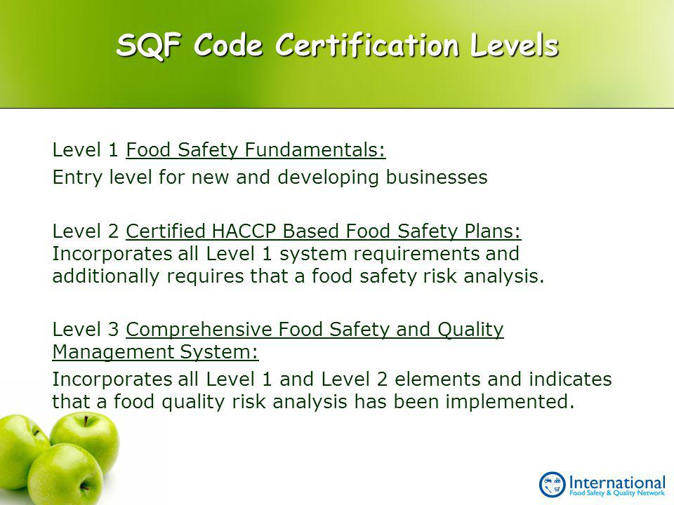 SQF Code Certification Levels
