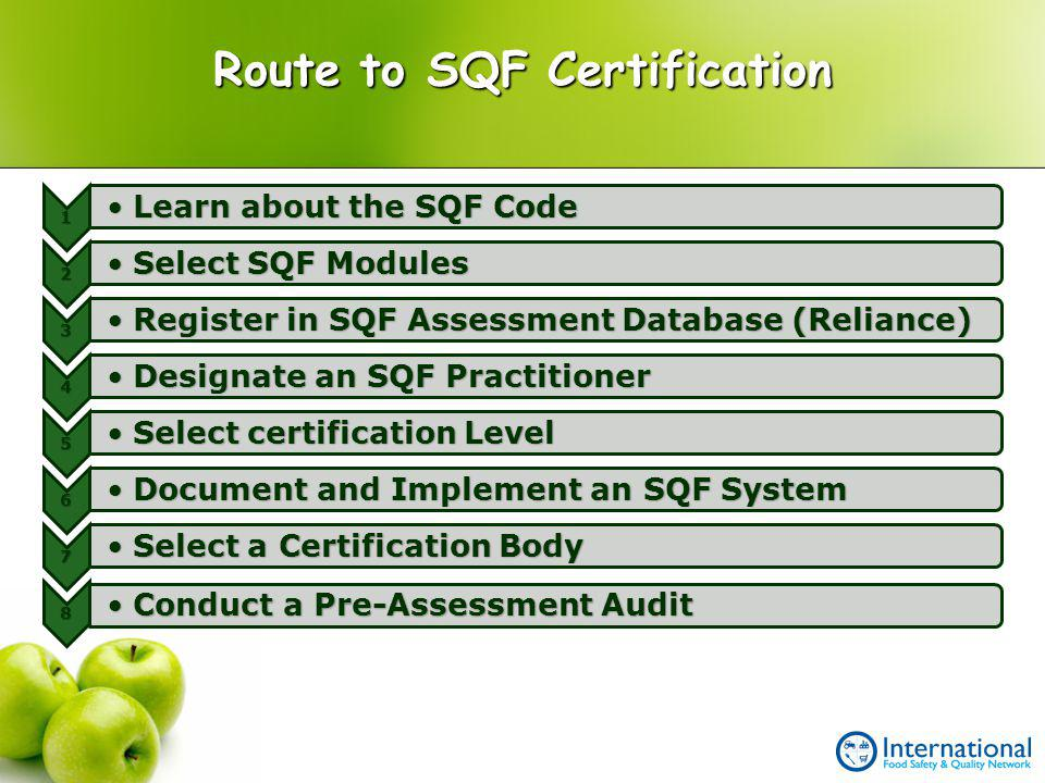 Route to SQF Certification