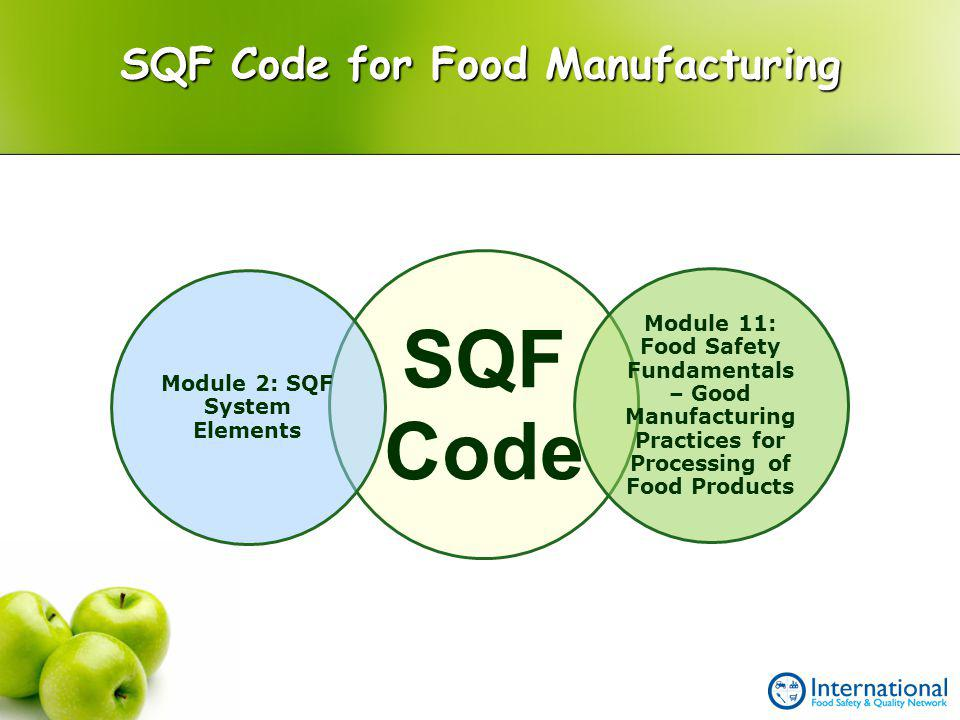 SQF Code for Food Manufacturing