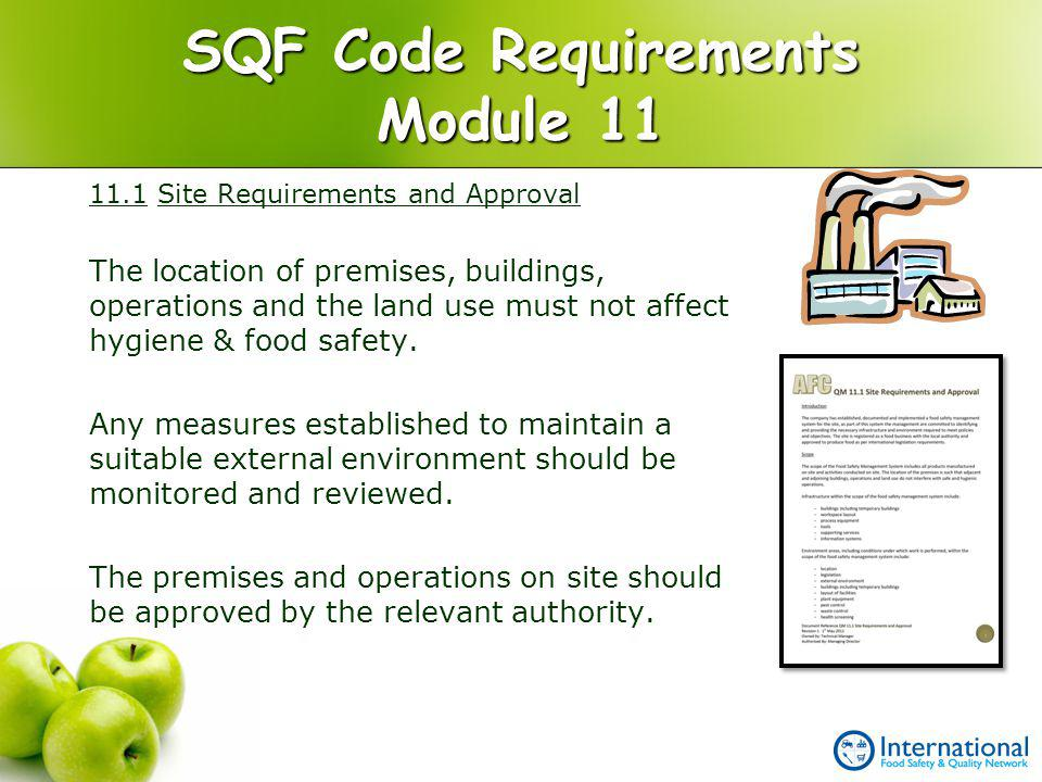 SQF Code Requirements Module 11