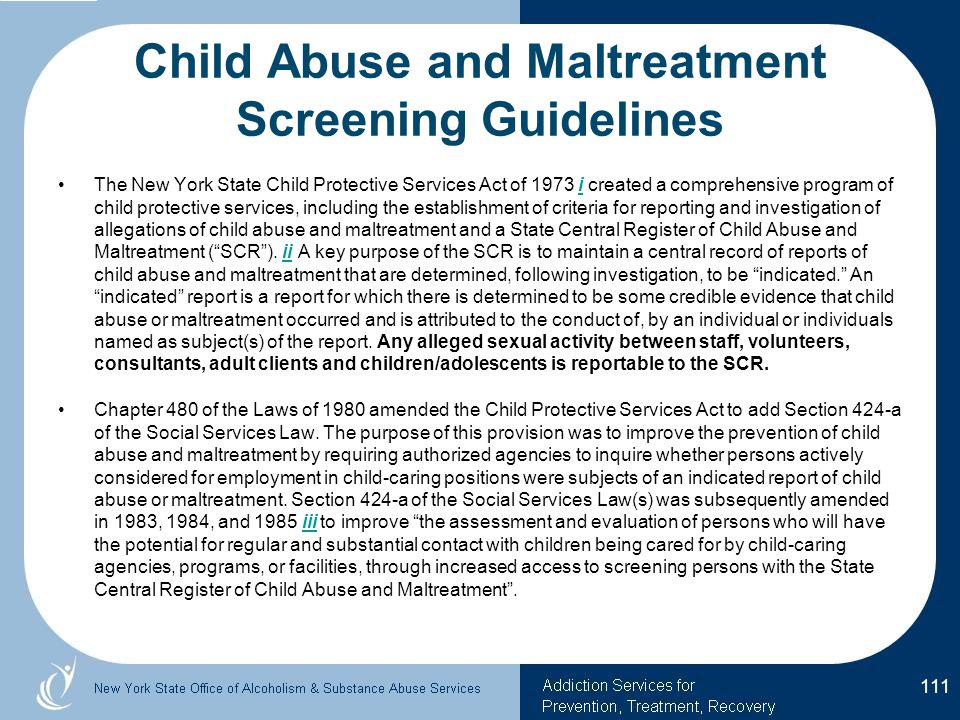 Child Abuse and Maltreatment Screening Guidelines