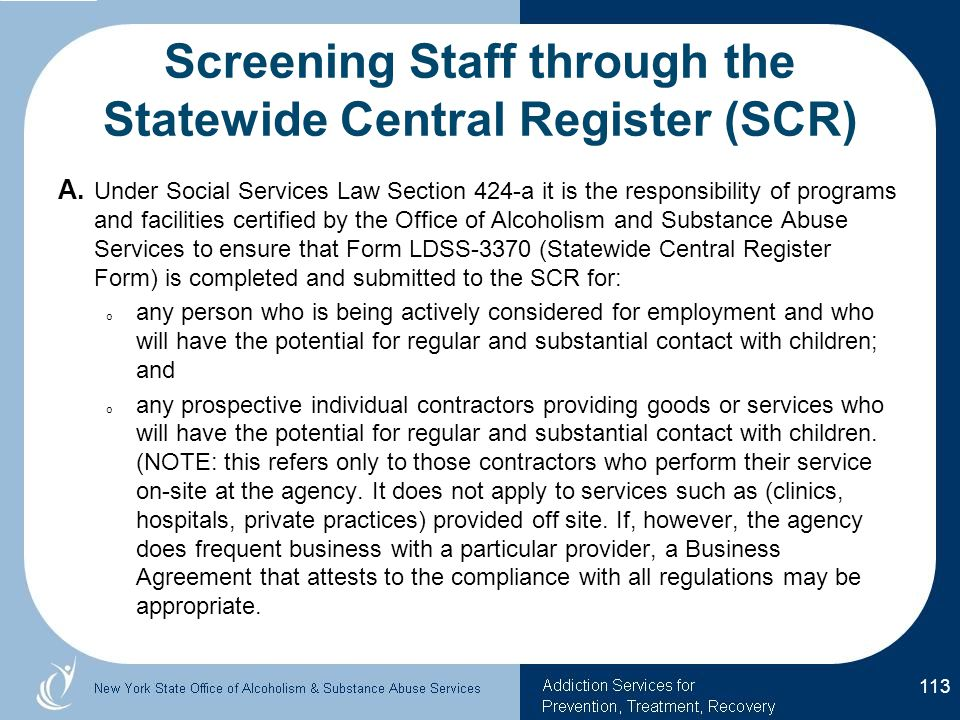 Screening Staff through the Statewide Central Register (SCR)