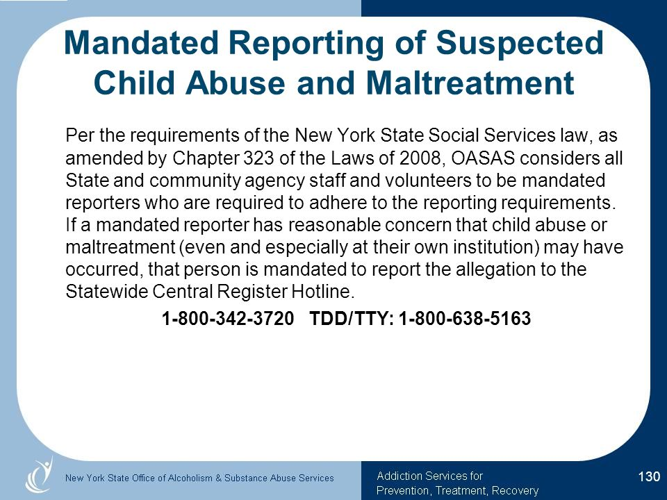 Mandated Reporting of Suspected Child Abuse and Maltreatment