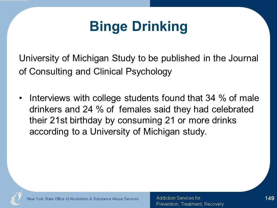 Binge Drinking University of Michigan Study to be published in the Journal. of Consulting and Clinical Psychology.