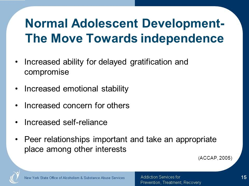 Normal Adolescent Development- The Move Towards independence