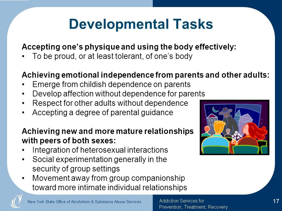 Developmental Tasks Accepting one's physique and using the body effectively: To be proud, or at least tolerant, of one's body.