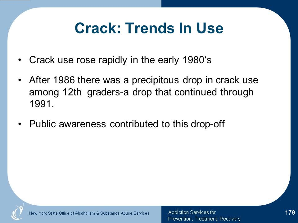 Crack: Trends In Use Crack use rose rapidly in the early 1980's