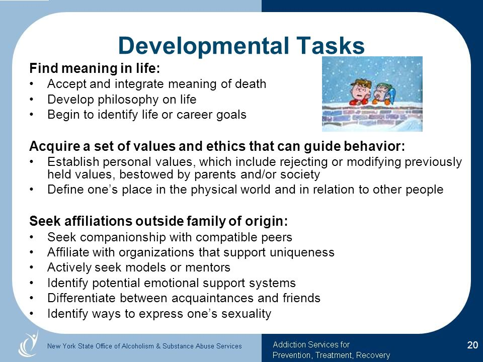 Developmental Tasks Find meaning in life:
