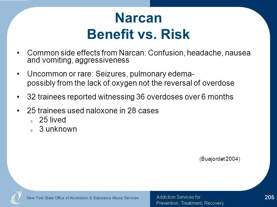 Narcan Benefit vs. Risk Common side effects from Narcan: Confusion, headache, nausea and vomiting, aggressiveness.