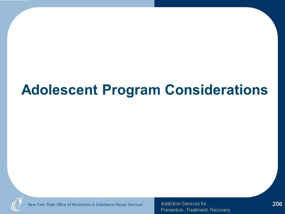 Adolescent Program Considerations