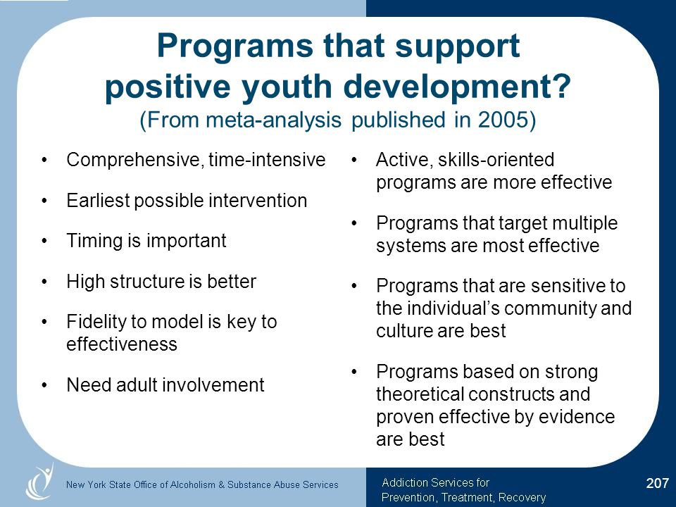 Programs that support positive youth development