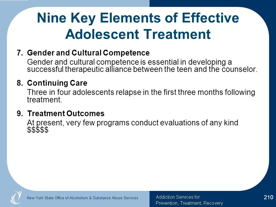 Nine Key Elements of Effective Adolescent Treatment