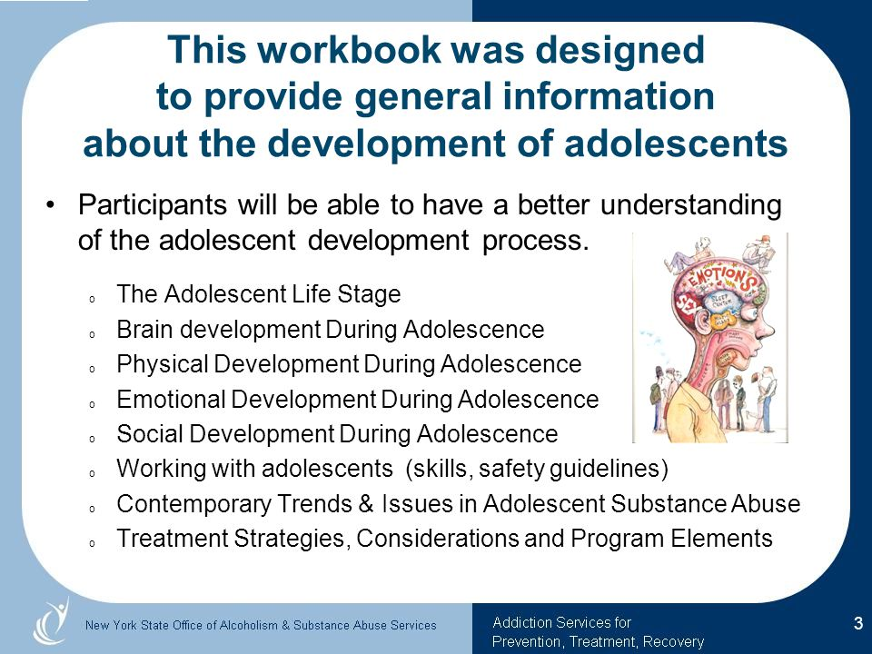This workbook was designed to provide general information about the development of adolescents