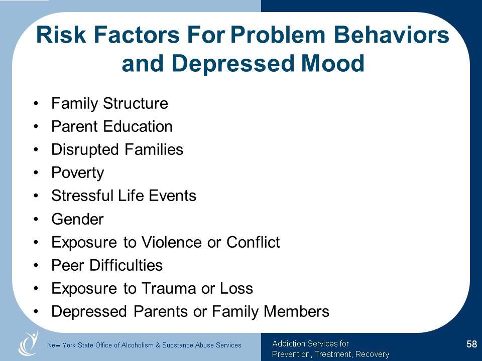 Risk Factors For Problem Behaviors and Depressed Mood