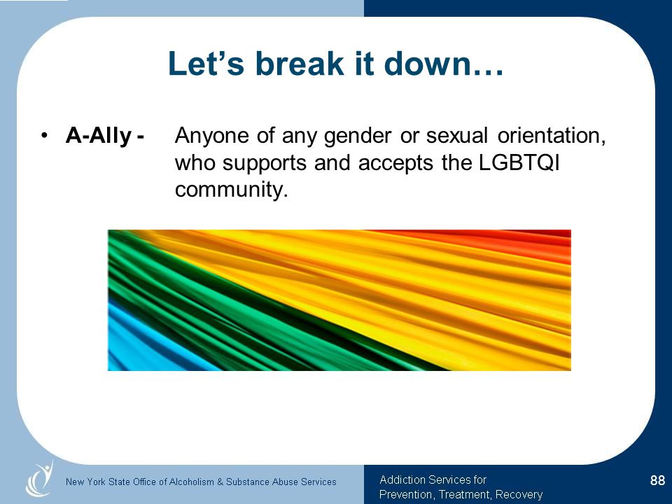 Let's break it down… A-Ally - Anyone of any gender or sexual orientation, who supports and accepts the LGBTQI community.
