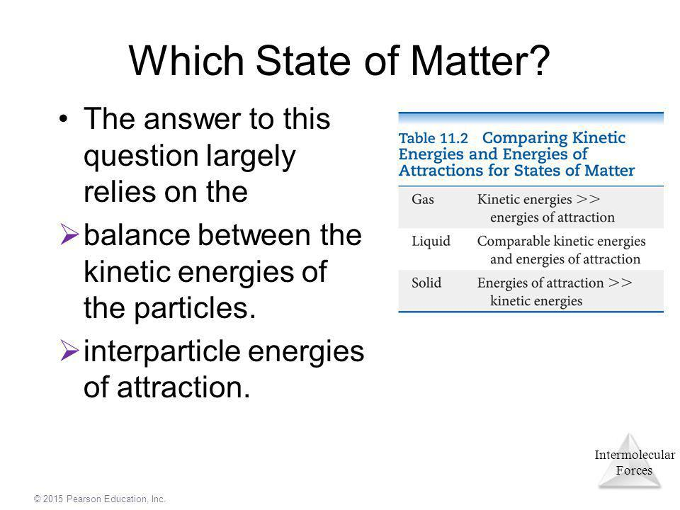 Which State of Matter The answer to this question largely relies on the. balance between the kinetic energies of the particles.
