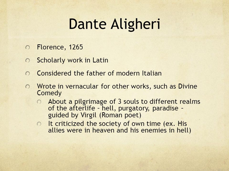 Dante Aligheri Florence, 1265 Scholarly work in Latin