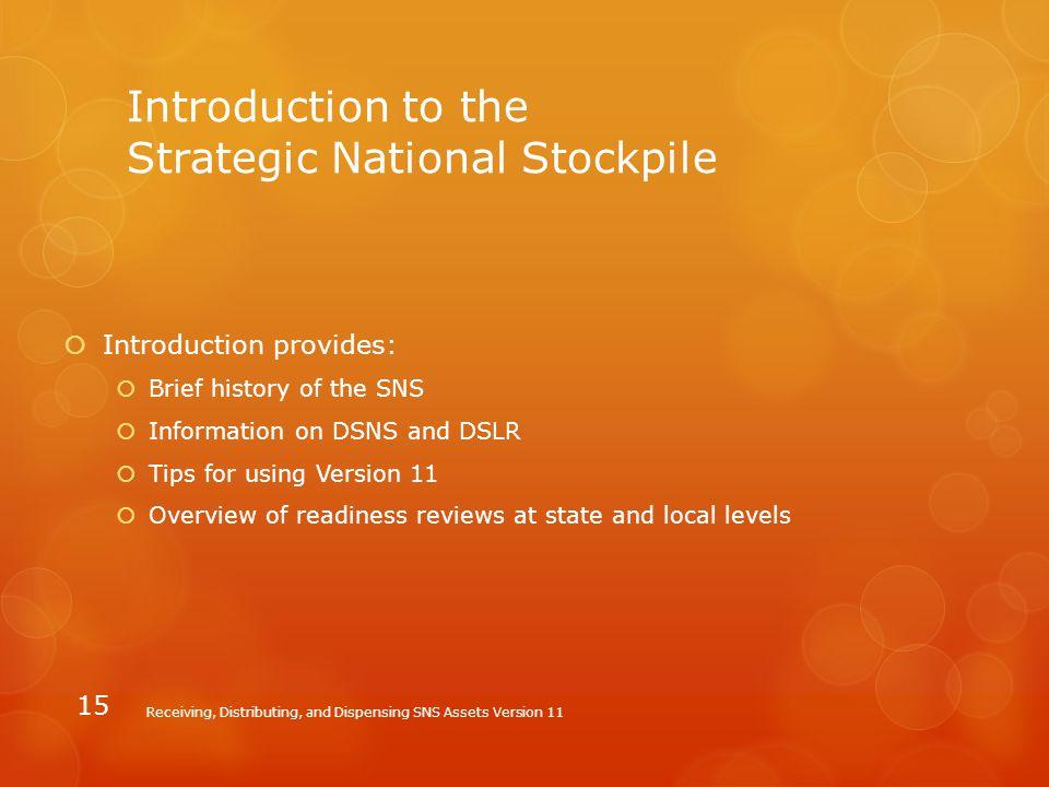 Introduction to the Strategic National Stockpile
