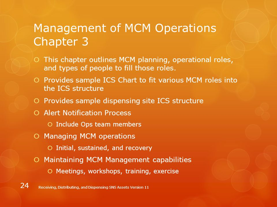 Management of MCM Operations Chapter 3