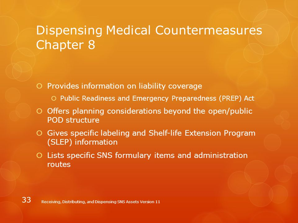 Dispensing Medical Countermeasures Chapter 8