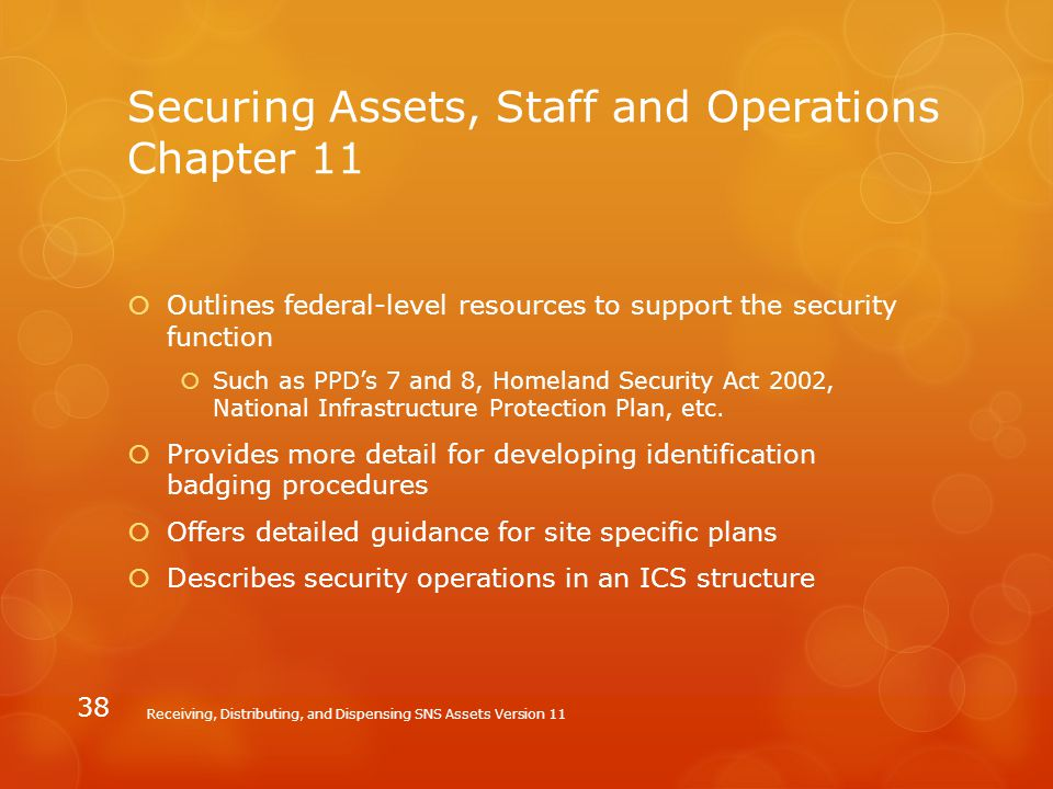 Securing Assets, Staff and Operations Chapter 11