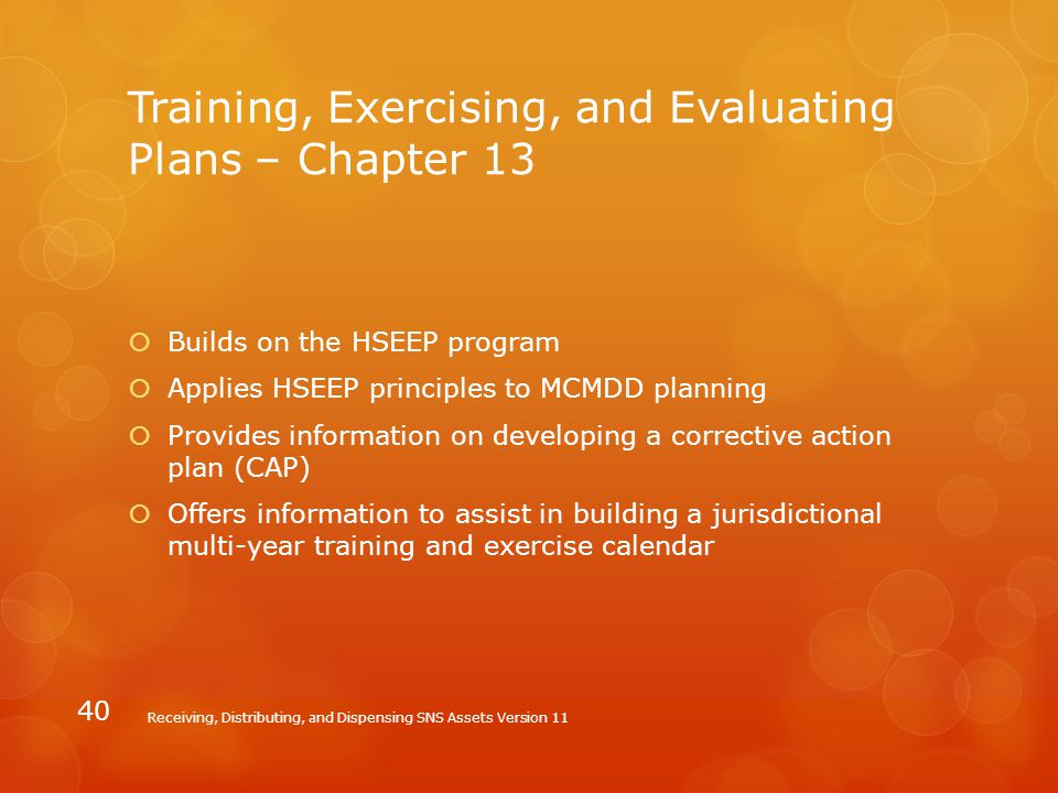 Training, Exercising, and Evaluating Plans – Chapter 13