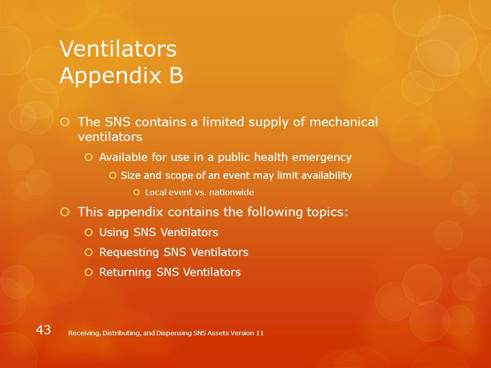 Ventilators Appendix B