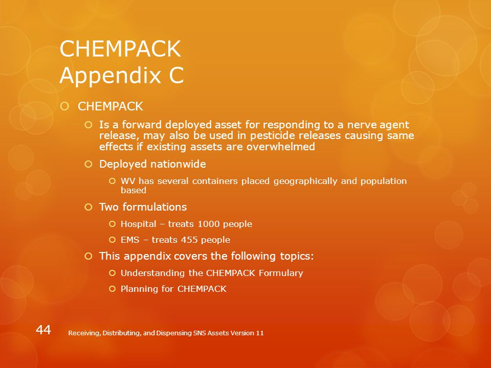 CHEMPACK Appendix C CHEMPACK