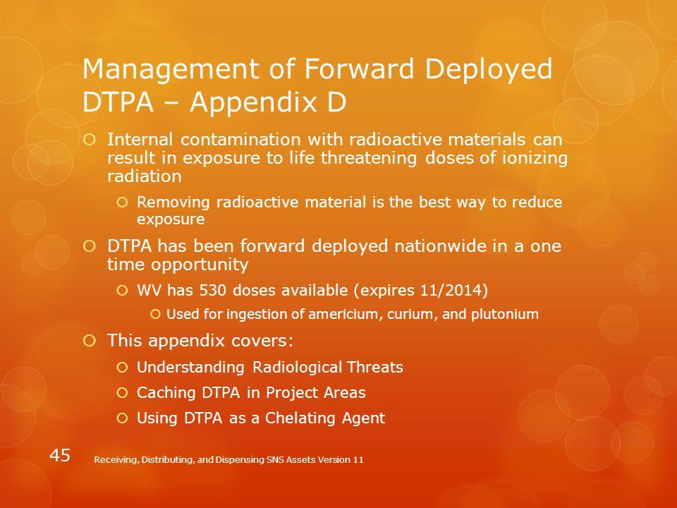 Management of Forward Deployed DTPA – Appendix D