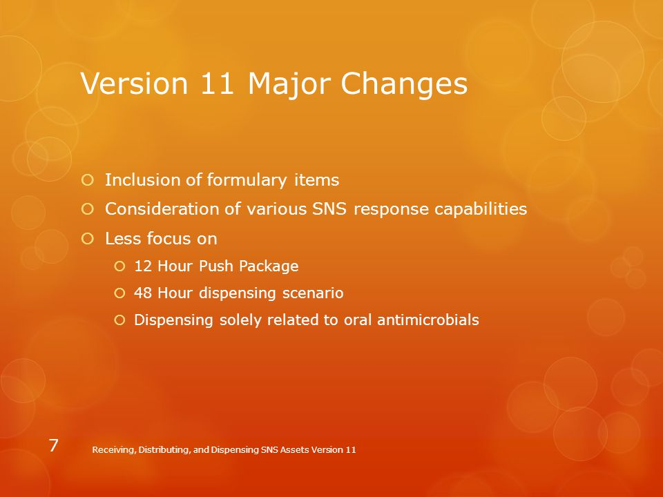 Version 11 Major Changes Inclusion of formulary items