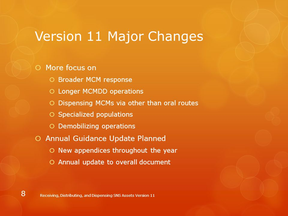 Version 11 Major Changes More focus on Annual Guidance Update Planned