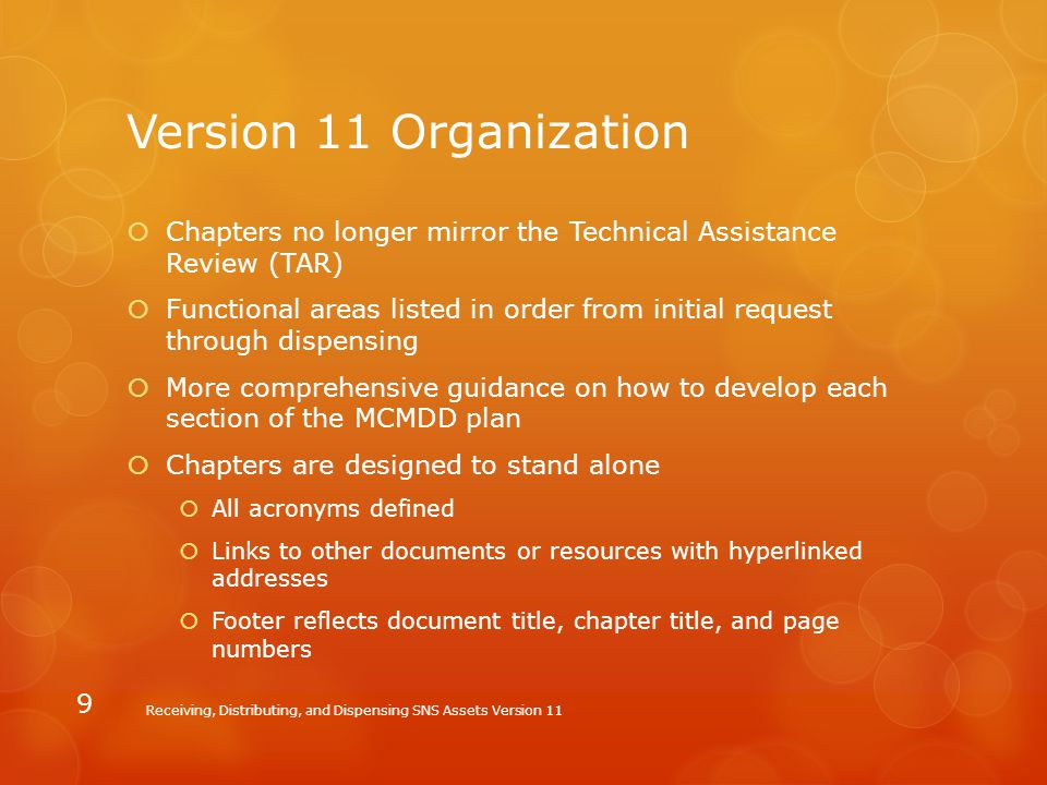 Version 11 Organization Chapters no longer mirror the Technical Assistance Review (TAR)