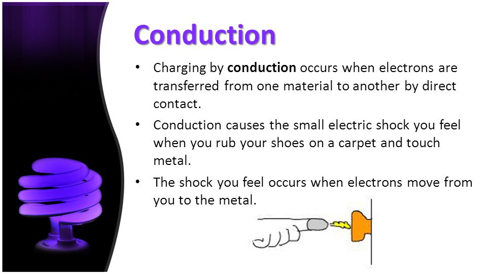 Conduction Charging by conduction occurs when electrons are transferred from one material to another by direct contact.