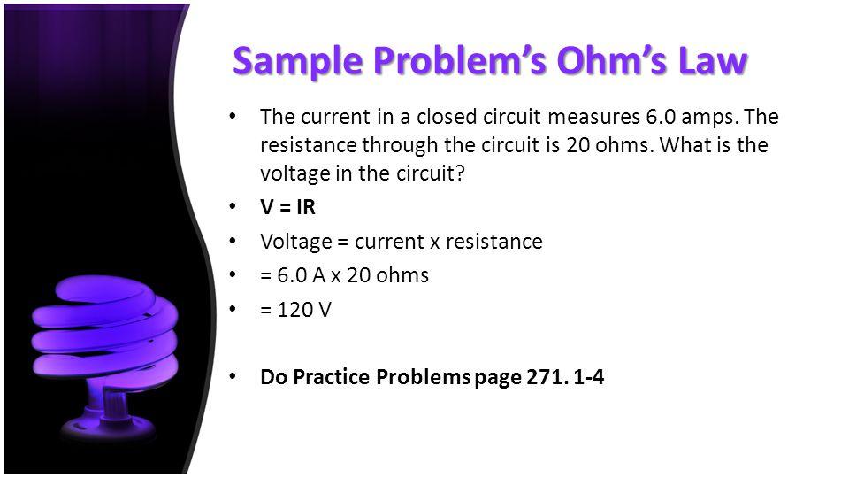 Sample Problem's Ohm's Law
