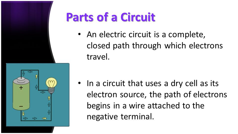 Parts of a Circuit An electric circuit is a complete, closed path through which electrons travel.