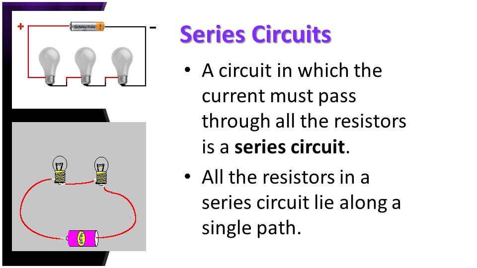 Series Circuits A circuit in which the current must pass through all the resistors is a series circuit.