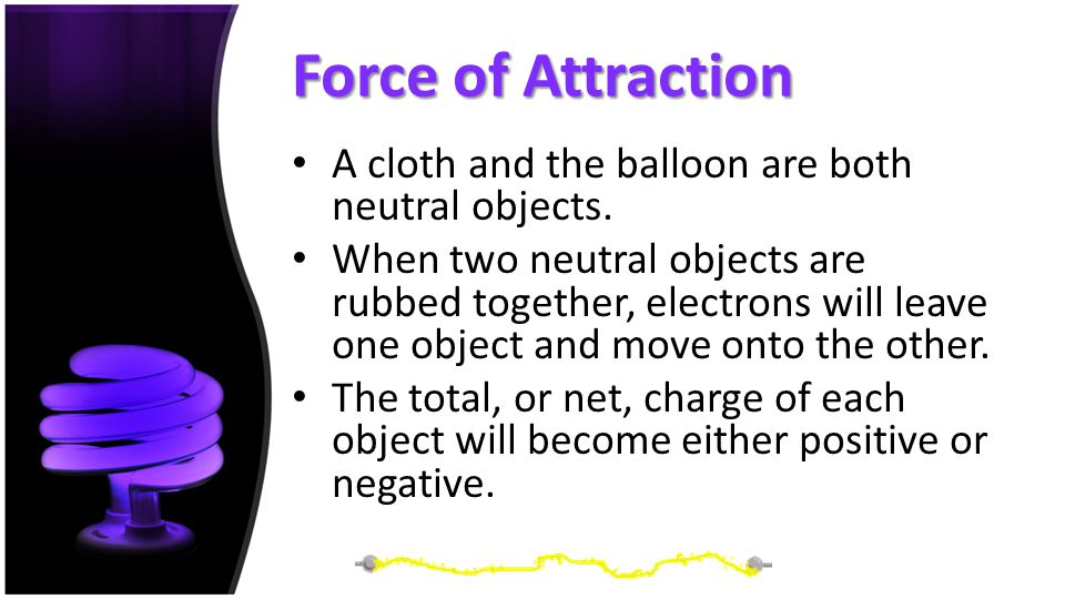 Force of Attraction A cloth and the balloon are both neutral objects.