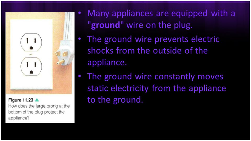 Many appliances are equipped with a ground wire on the plug.